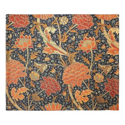 William Morris Daisy Floral Pattern Red Orange Duvet Cover Zazzle Com William Morris William Morris Patterns Art Nouveau Pattern