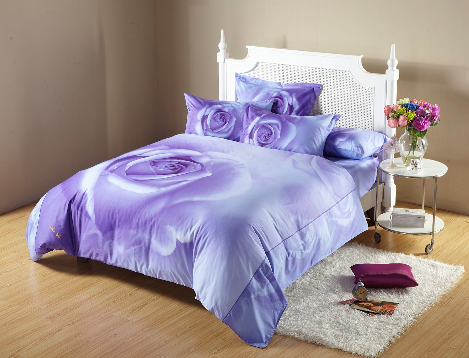 Midnight Rose Purple Floral Bedding Romantic Duvet Set King OR Full