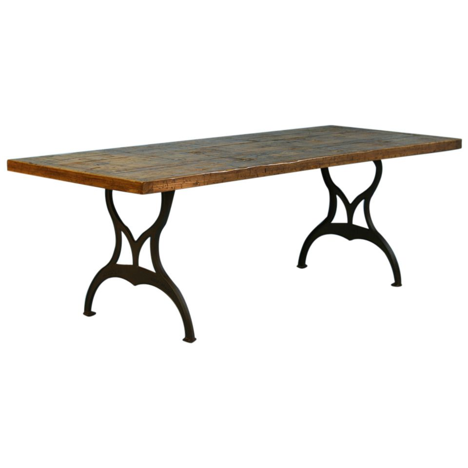 Vintage industrial look dining table from reclaimed wood and cast vintage industrial look dining table from reclaimed wood and cast iron legs from a unique collection of antique and modern farm tables at watchthetrailerfo