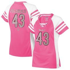 b9f2f97a3 Women s Pittsburgh Steelers Troy Polamalu Majestic Pink Draft Him IV T-Shirt
