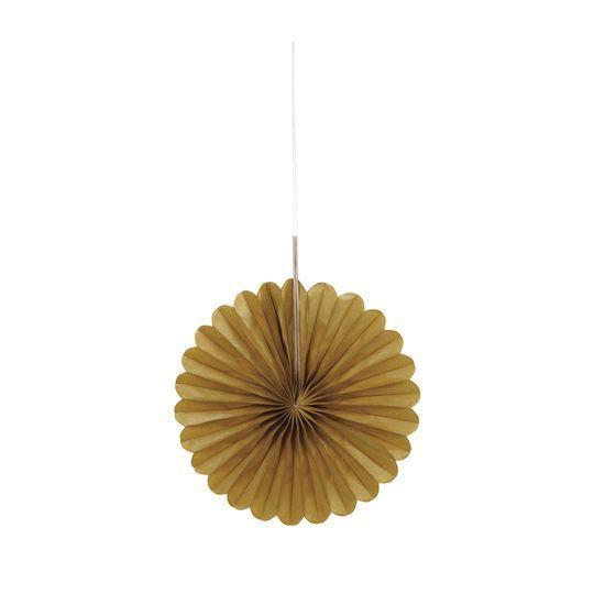 """Mini 6"""" Gold Tissue Paper Fan Decorations, 3Ct By Unique ..."""