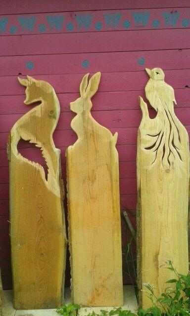 Fuchs hase vogel holzpfosten pinterest zaun for Gartendeko aus birkenholz