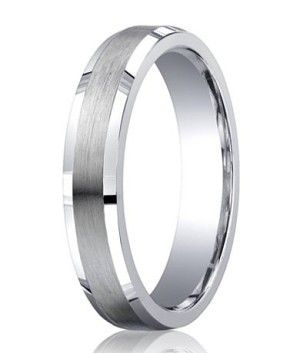 Designer Argentium Silver Beveled Edges Wedding Ring With Decorative Satin And Polished Finish 5mm Jbs1009