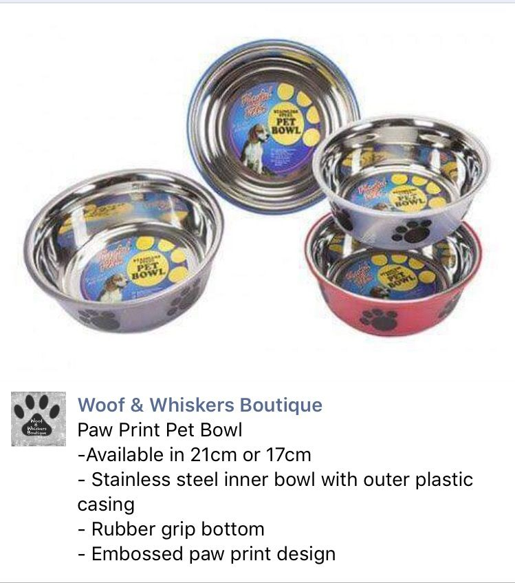 Dog Bowls: colourful bowls with paw print design from Woof & Whiskers Boutique
