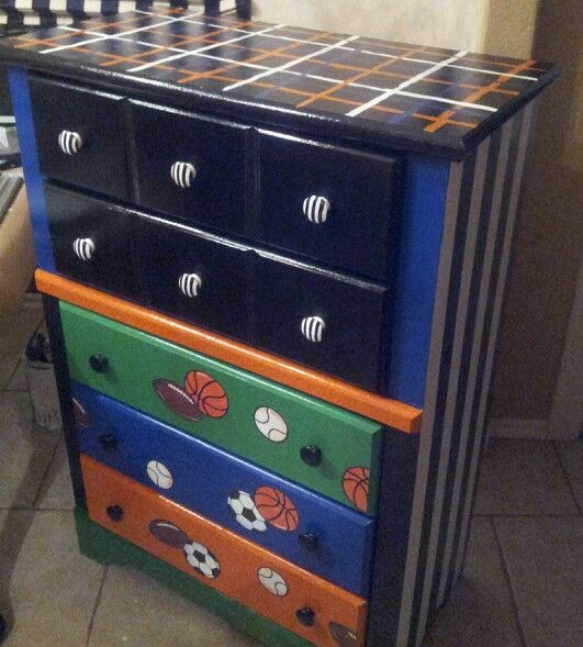 Hand Painted Sports Theme Boy S Dresser Boy Dresser Baby Boy Rooms Boy S Room