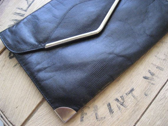 Black clutch purse / Lizard Skin envelope oversized by RefugeHeart, $17.00