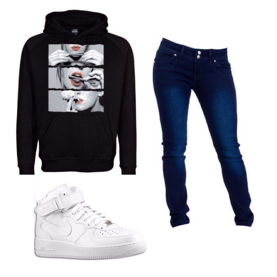 Lazy Girl Outfit Air Force 1 Blue Skinny Jeans Black Hoodie