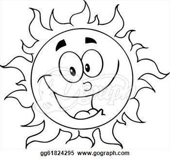 Vector Art Outlined Happy Sun Clipart Drawing Gg61824295