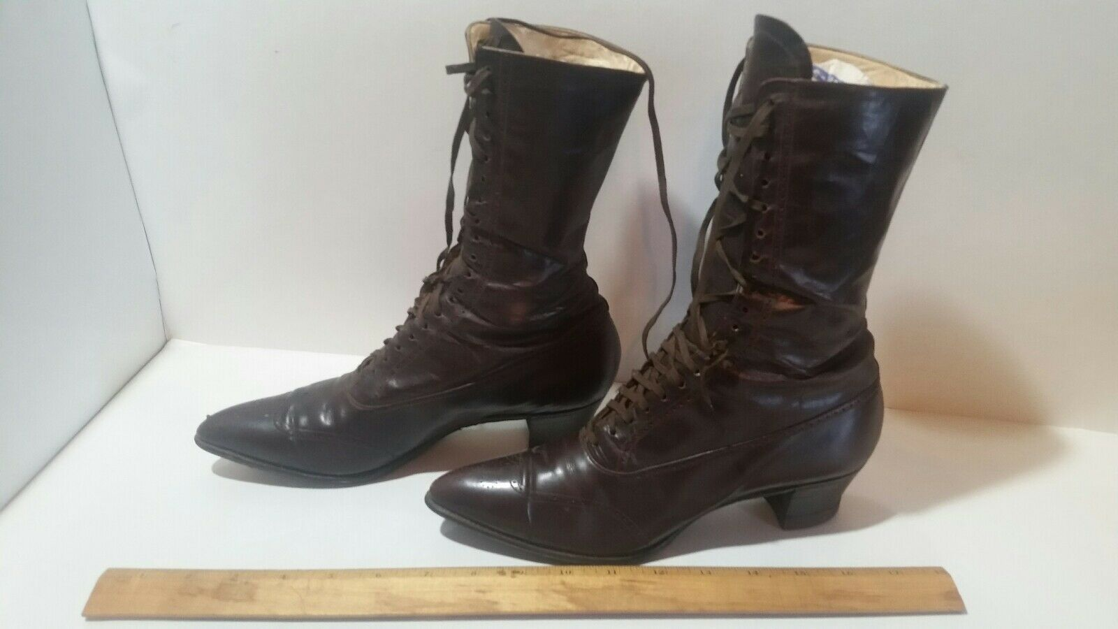 6e8e61396d Antique Ladies Boots Victorian Lace Up Brown/burgandy Leather Nice | eBay