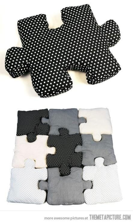 Puzzle piece pillows! I made 4 DIY corner puzzle pieces. Wished I used a sewing machine and stuffed them more, but I'm proud of them :)