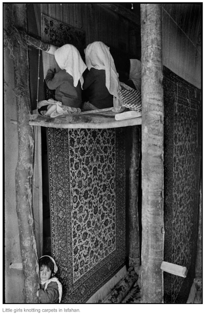 Inge Morath - Girls knotting carpets in Isfahan, Iran. 1956.