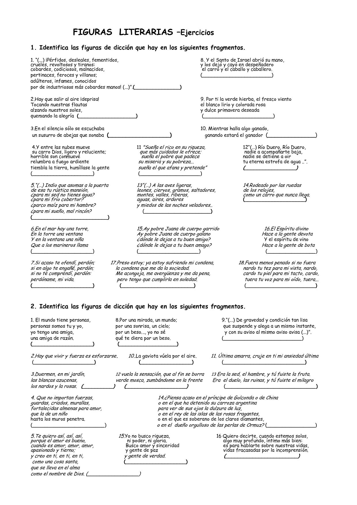 Lenguaje Figurado Ejercicios De Practica