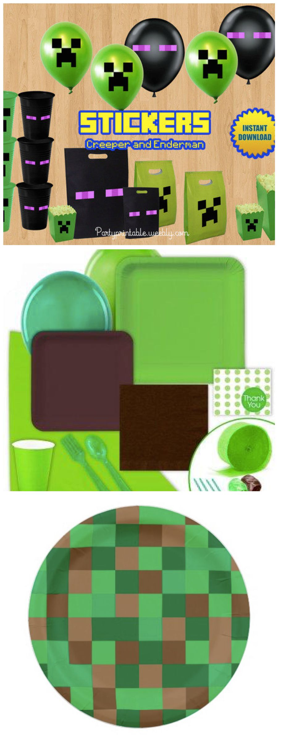 minecraft birthday party stuff solid party supplies green