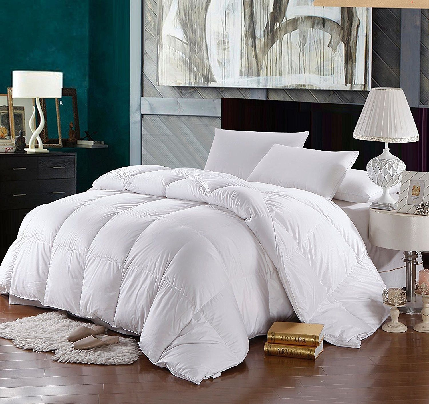 Solid 500 Thread Count Full Queen Siberian Down Comforter 650 Fp