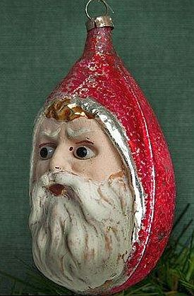 Antique Lauscha Germany Glass Ornament With Set In Eyes