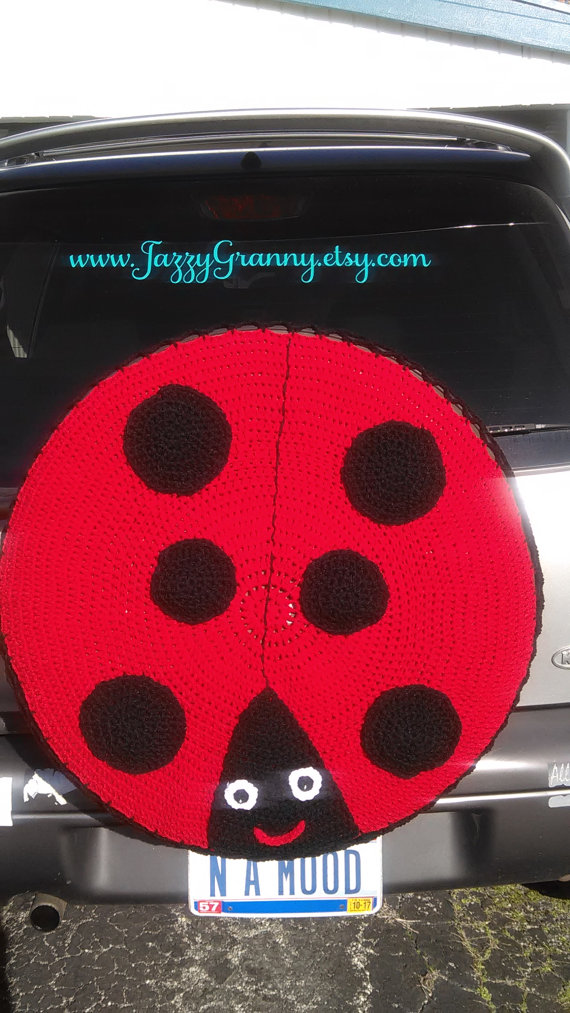 Ladybug Spare Tire Cover Crocheted FREE SHIPPING By JazzyGranny
