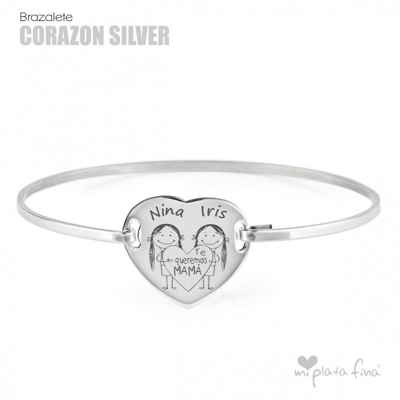 343935d7ce17 Pulsera CORAZÓN silver en plata de ley grabado con nombre