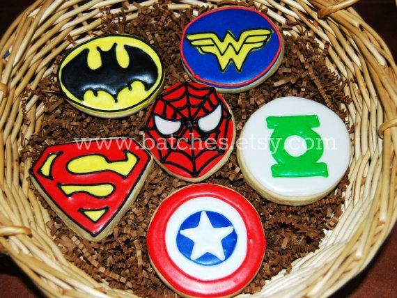 SUPER HEROS  1 Dozen 3in Platter Sugar Cookies   by batches, $27.00