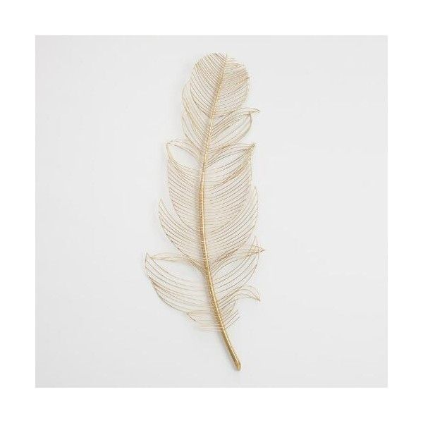 Gold Wire Feather Wall Decor 25 Via Polyvore Featuring Home Home Decor