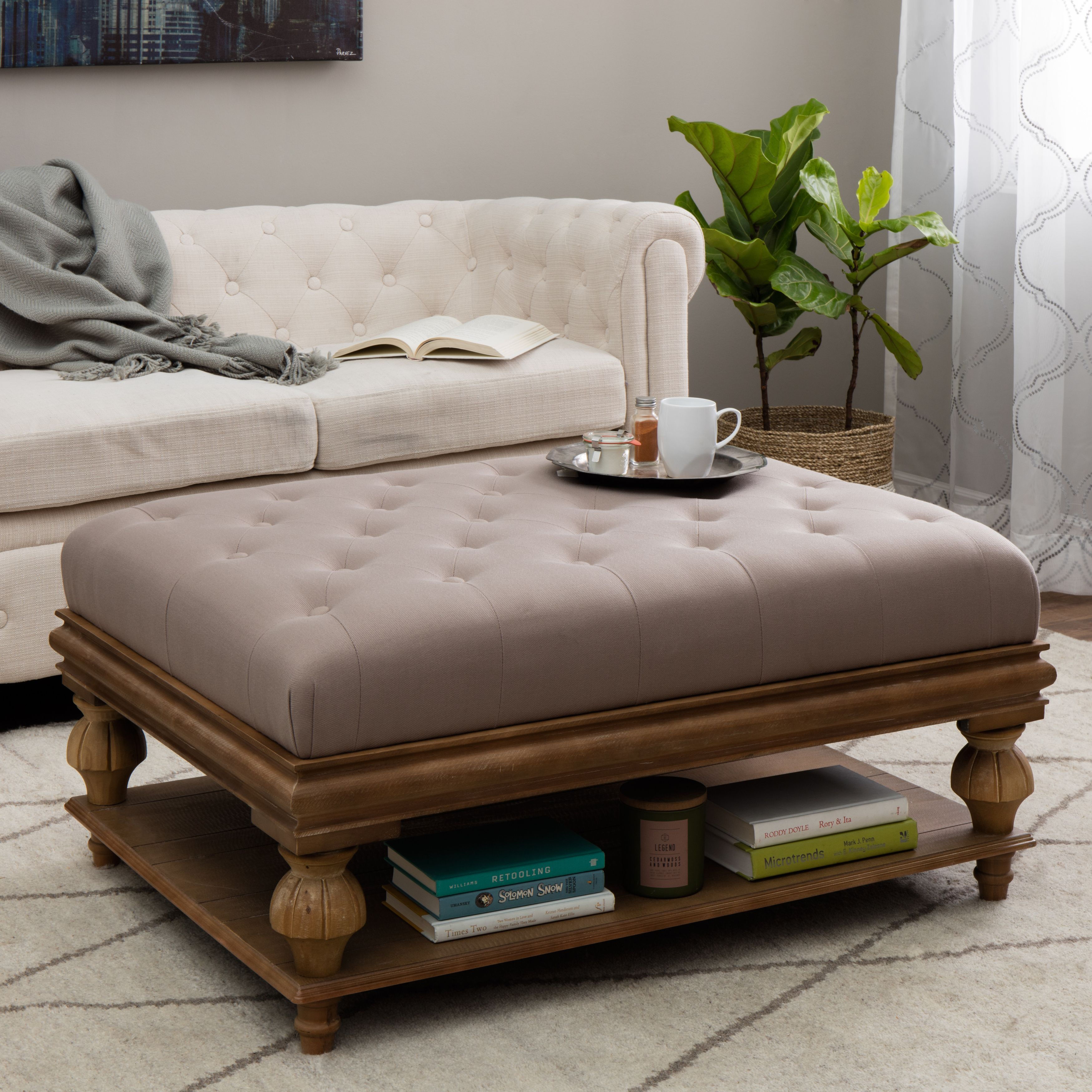Elements Rubbed Light Brown Wood Ottoman w/ Taupe Cushion | Baúl y Mesas