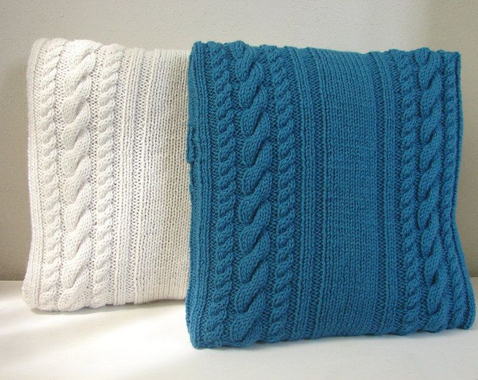 Knitting pattern cushion cover with cables, pattern pillow case 6 ...