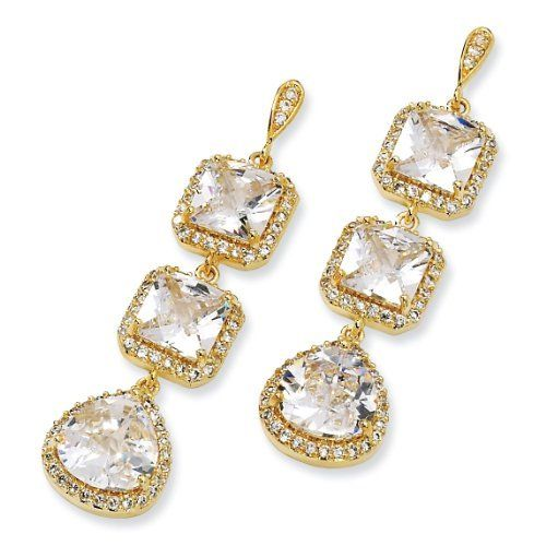 Gold-plated Sterling Silver Rose-cut CZ Dangle Post Earrings - JewelryWeb JewelryWeb. $89.30