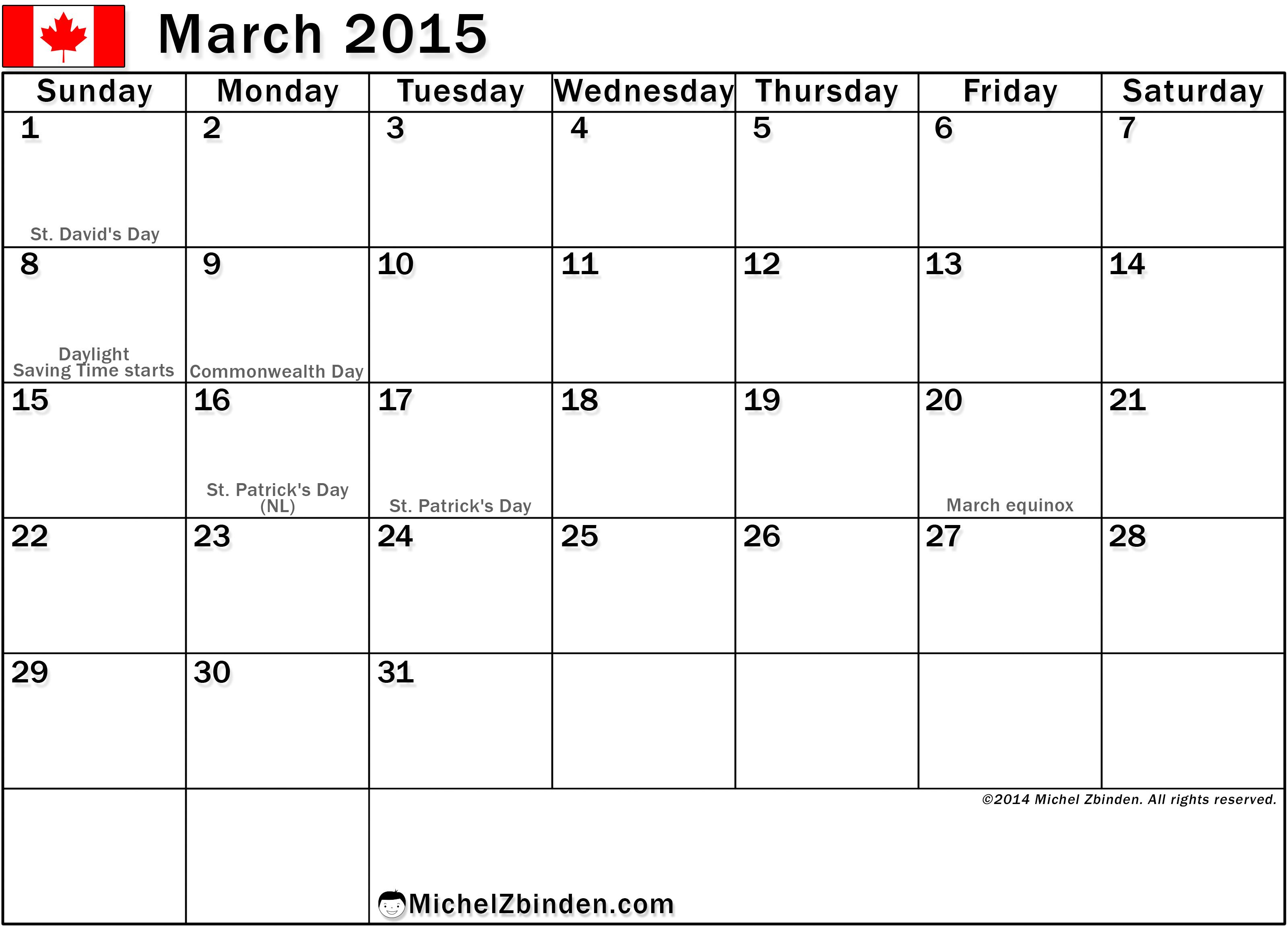 March 2015 Calendar Canada Free Printable Calendar Print Calendar