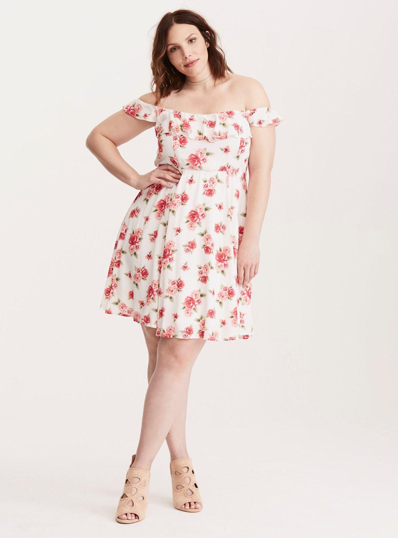 57f5c74bc Floral Print Gauze Off Shoulder Dress  Plus Size Clothing   TORRID ...