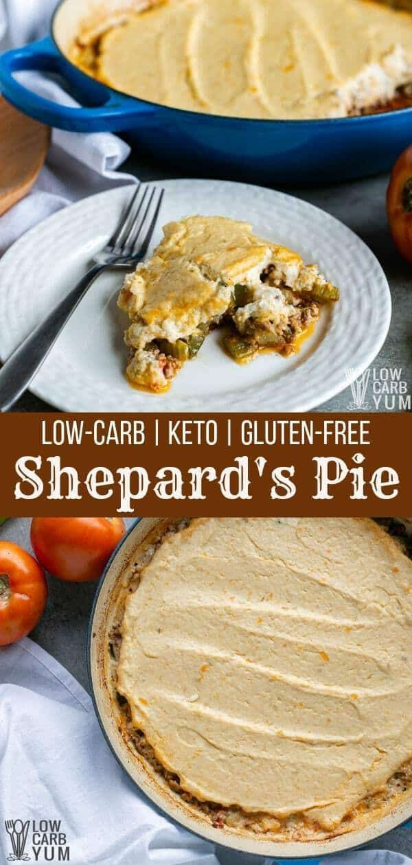 Keto Shepard's Pie to add to your favorites for low carb recipes casseroles. It's perfect for keto meals with the whole family. So be sure to add this one to your keto dinner recipes too. #lowcarbrecipes #ketodinners #ketorecipes #shepardspie