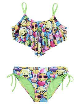 947cae63eb39c Shop Emoji Flounce Bikini Swimsuit and other trendy girls {CATEGORY}  {PARENT_CATEGORY} at Justice. Find the cutest girls {PARENT_CATEGORY} to  make .