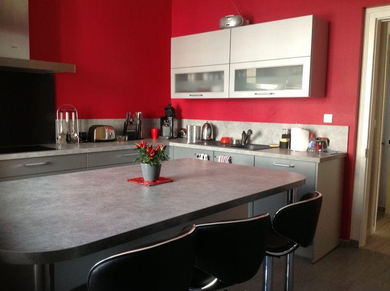 Cuisine mur rouge recherche google cuisine pinterest for Cuisine mur rouge et gris