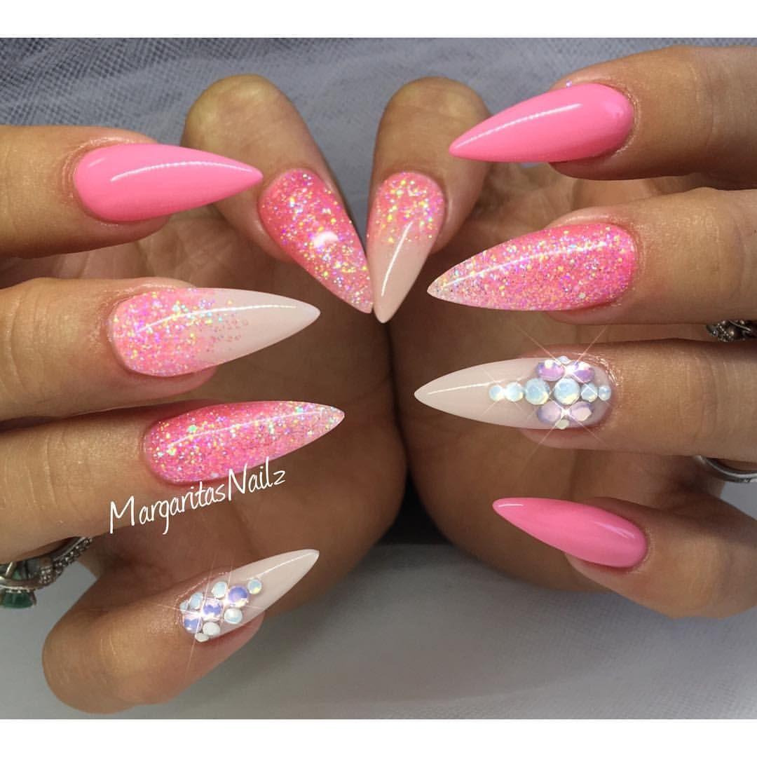 Pink stiletto nails summer nail art glitter ombr ...
