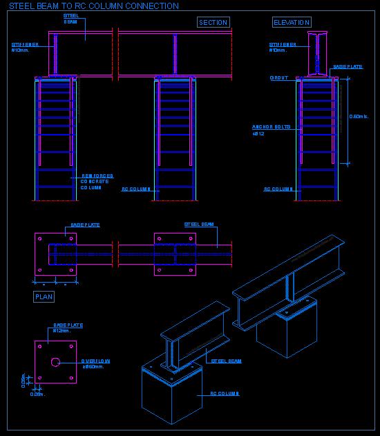 Steel beam to RC column connection | detallesconstructivos.net ...