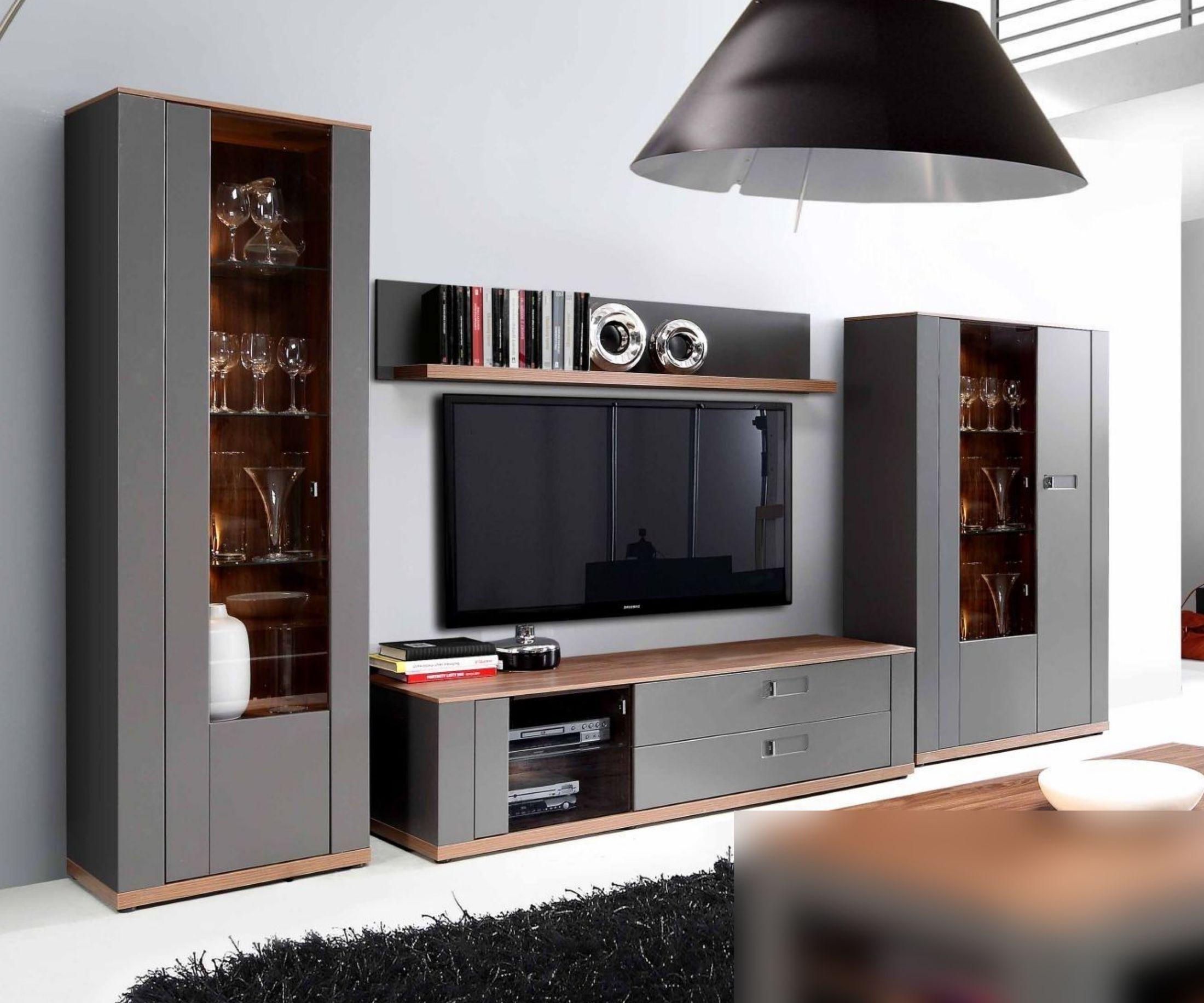 Wohnwand Grau Matt ~ Wohnwand in grau matt und sangallo eiche woody 77 00823 holz modern