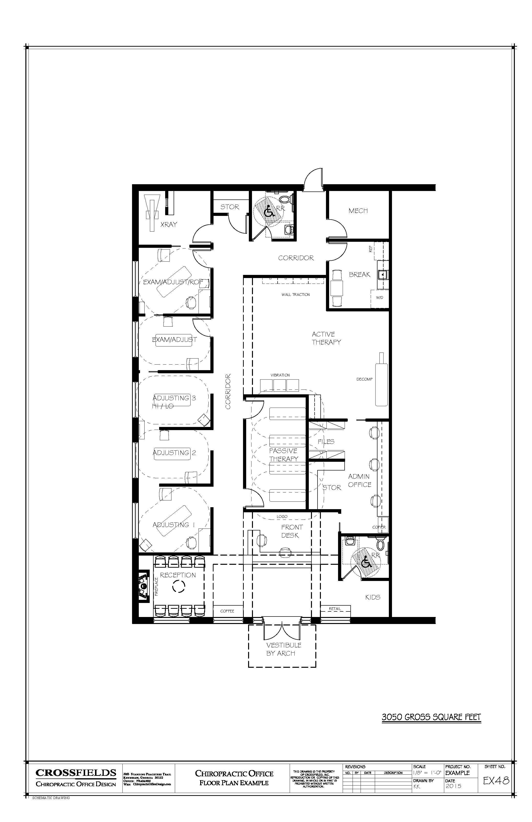 Chiropractic office floorplan with active passive for Office blueprints design