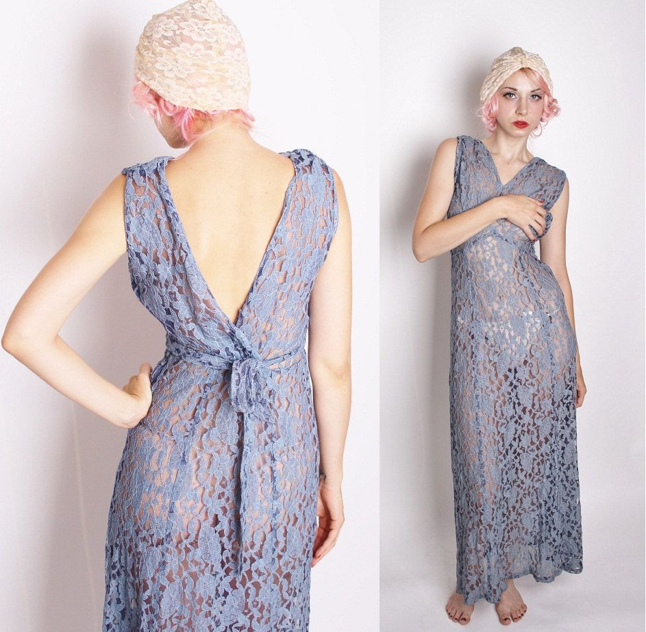 Art Deco Vintage 1930s Dove Blue Gray Grecian Goddess Dress / Long ...