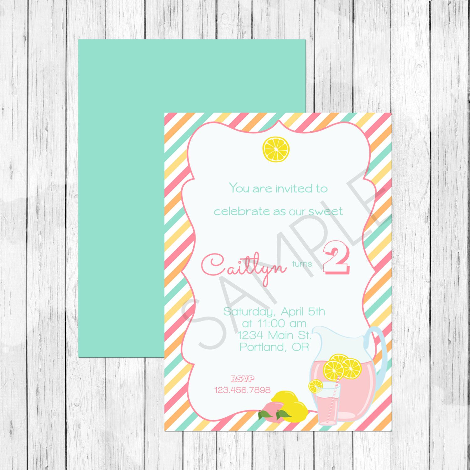 Pink Lemonade Theme Summer Party Personalized Birthday Invitation or ...