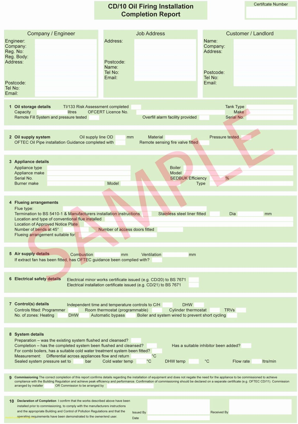 Electrical Installation Test Certificate Template 3