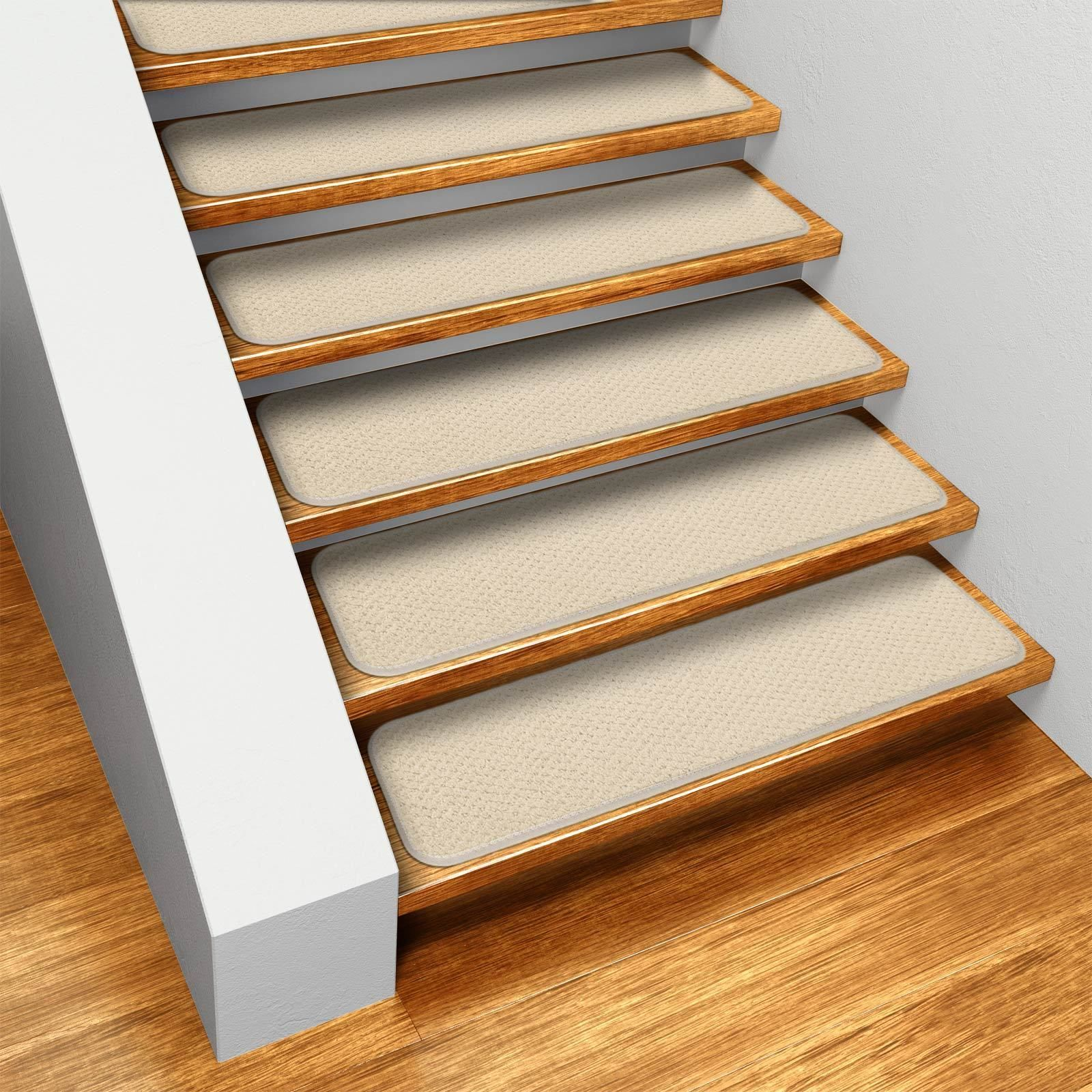 Best Ivory Cream Skid Resistant Carpet Stair Treads Set Of 12 400 x 300