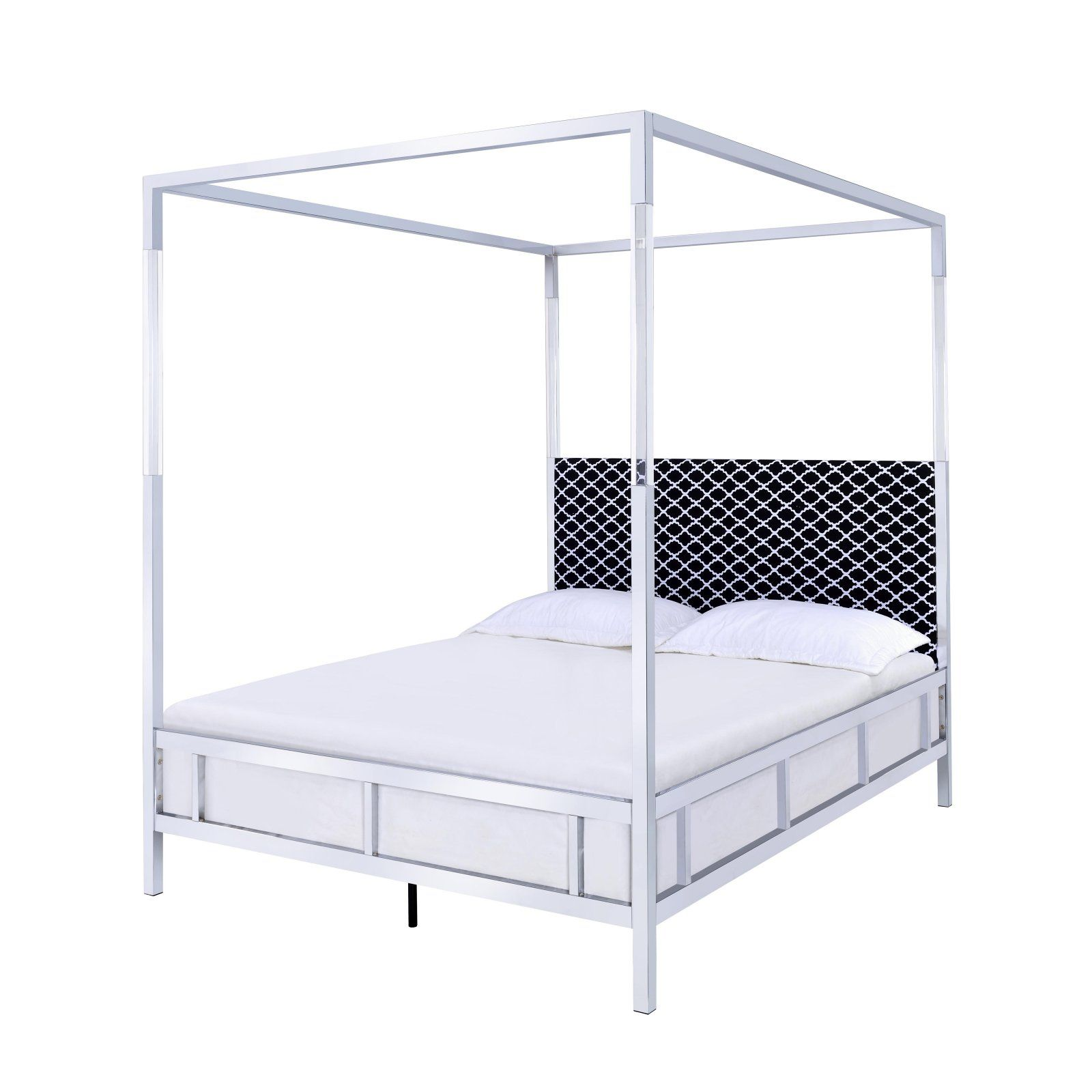 Acme Furniture Raegan Canopy Bed Acrylic Chrome Queen