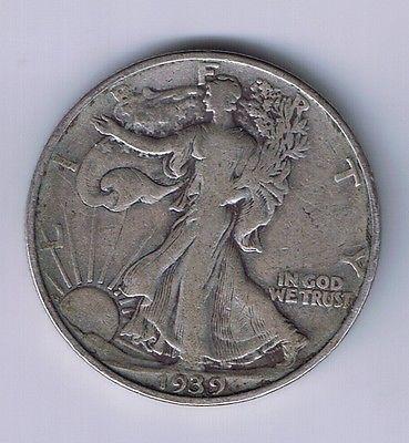 1939 Walking Liberty Half Dollar Silver Coin 50 Cents Piece 1 2 Walker Wwii Com Imagens Moedas