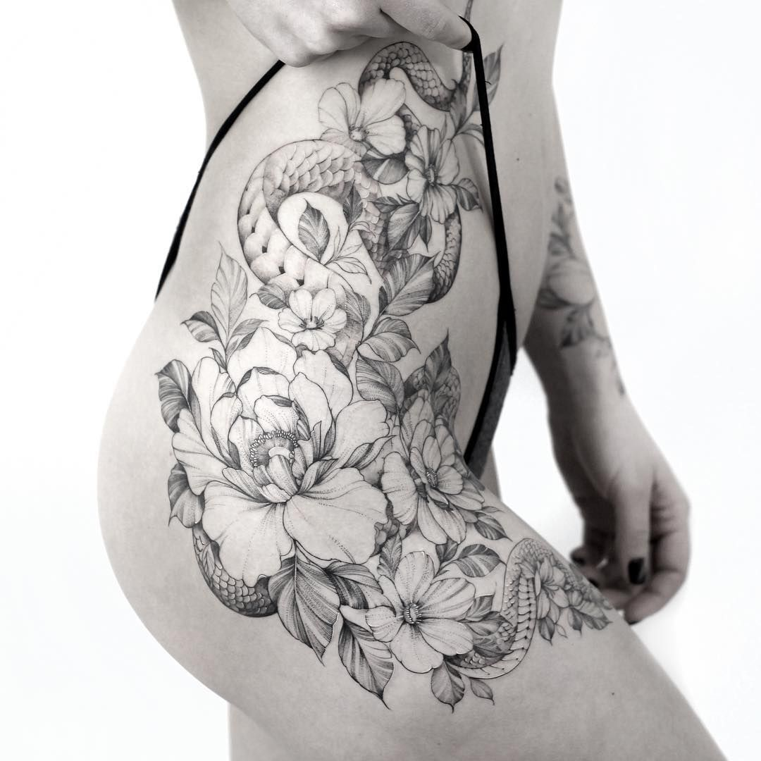 snake and flowers tattoo on hip Hip tattoos women, Snake