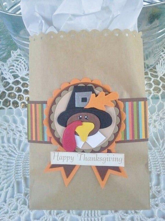 Items similar to Thanksgiving gift bag Turkey gift bag Thanksgiving hostess gift bag treat bag gift wrap fall gift wrap merchandise bag sack on Etsy