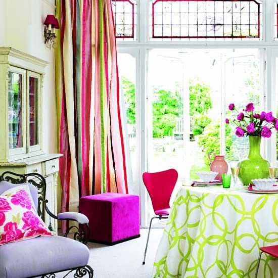 Bright Living Room With Colorful Furniture Decoration   Love The Curtains!
