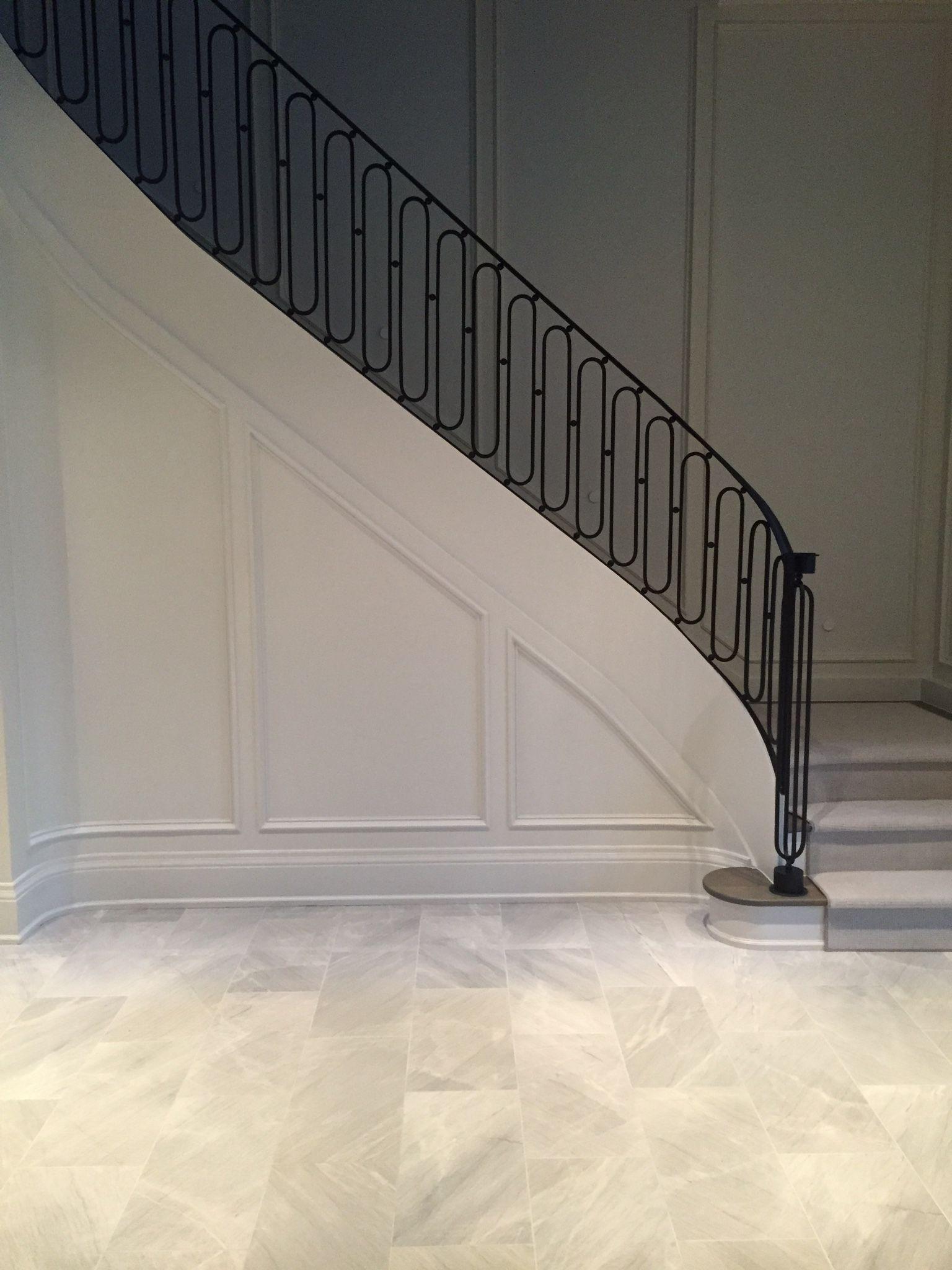 Paint trim same as walls interior railing stairs - Contemporary stair railings interior photos ...