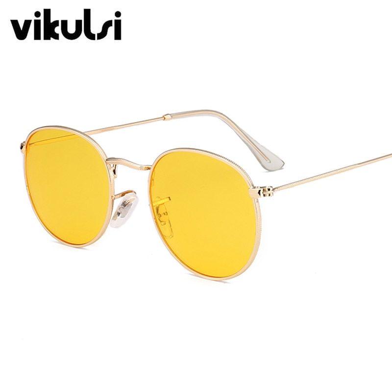 576e07ea00 2017 New Luxury Brand Designer Transparent Sunglasses Classic Matel Frame  Men Women Round Clear Sun Glasses Yellow Shades UV400