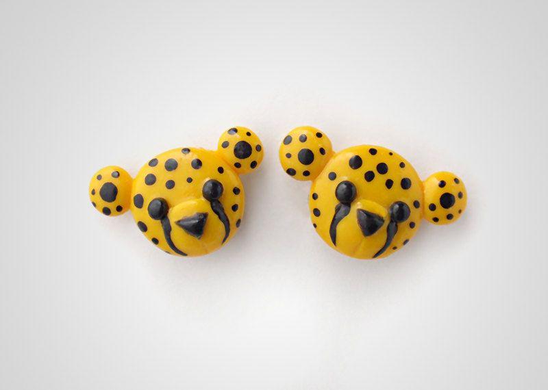 Cheetah Earrings Studs - Polymer Clay Cute Animal Jewelry Safari. $18.50, via Etsy.  Try tigers