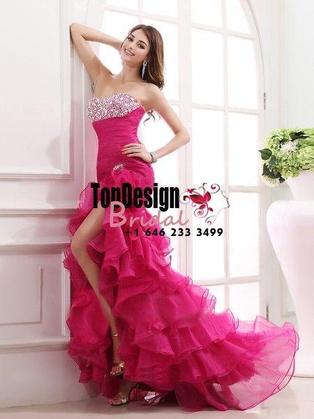 Wholesale Vestidos De Fiesta 2017 Brand New Evening Party Gown Trumpet / Mermaid Beading Fuchsia Organza Prom Dresses