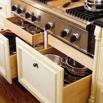 Love The Shallow Drawer For Lids Kitchen Storage Cabinet Kitchen Pot