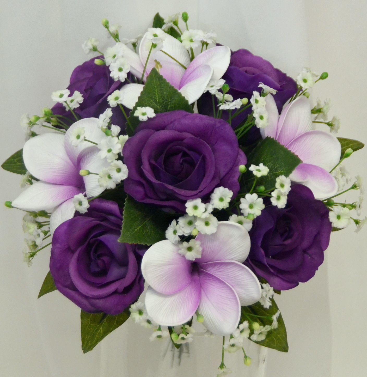 Frangipani posy bouquet purple diy wedding bouquet fake